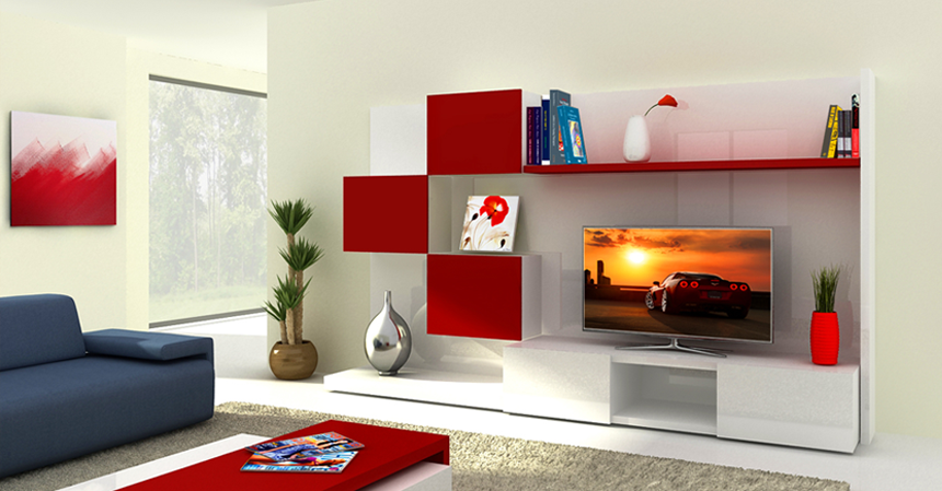 modern white and red tv stand with drawers